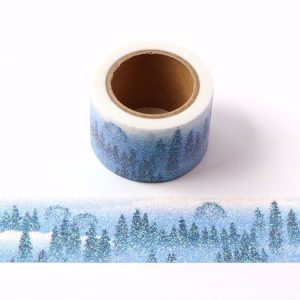 2 Rolls Hazy Forest Theme Glitter Washi Tape Sparkly Design