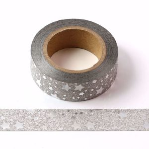 Silver Glitter Washi Tape With Silver Foil Stars