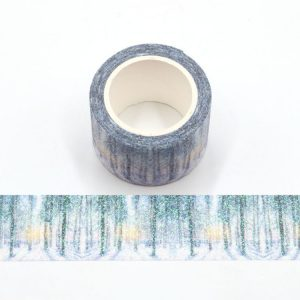 2 Rolls The Snow Forest Glitter Washi Tape Sparkly Design