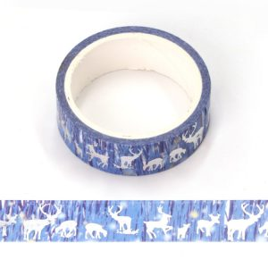 Aurora and Silver Foil Reindeer Christmas Washi Tape