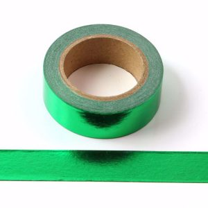 Green Foil Washi Tape Decorative Self Adhesive Masking Tape 15mm x 10m