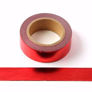 Red Foil Washi Tape Decorative Self Adhesive Masking Tape 15mm x 10m