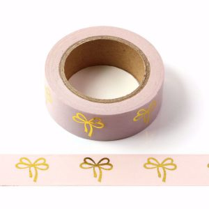 Pink Washi Tape With Gold Embossed Bows 15mm x 10m