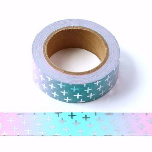 Pink and Blue Washi Tape With Embossed Silver Foil Crosses