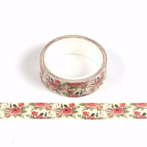 Red and Green Christmas Flowers Floral Washi Tape 15mm x 5 meters