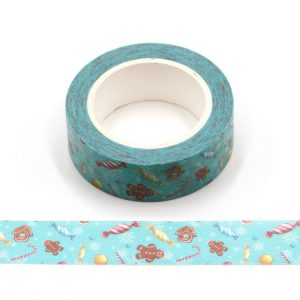 Christmas Candy Cane, Sweets and Gingerbread Man Washi Tape 15mm x 10m