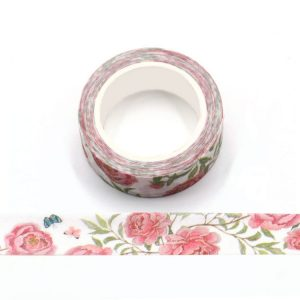 Butterflies and Flowers Frosted Washi Tape 15mm x 5m