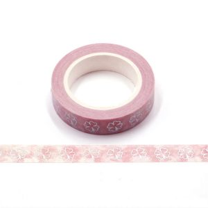 Pink and Silver Holographic Foil Lucky Clover Washi Tape