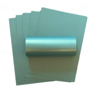 10 Sheets Turquoise Green With Gold Shimmer A4 Pearlescent Double Sided Card 300gsm