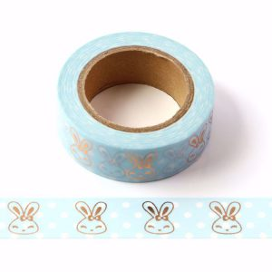 Blue With Rose Gold Foil Rabbits Washi Tape 15m x 10 Meters