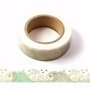Ocean Sea Waves With Gold Foil Embossing Decorative Washi Tape 15mm x 10m