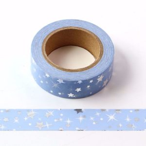 Blue With Silver Foil Stars Washi Tape 15mm x 10 Meters