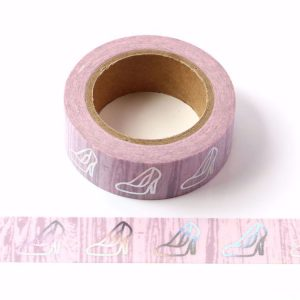 High Heels Pink Fashion Washi Tape Silver Holgographic Foil Decorative Tape 15mm x 10m