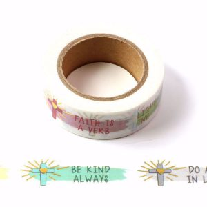 "Inspirational Religious Cross Washi Tape With Gold Foil ""Be Kind Always"" 15mm x 10m"