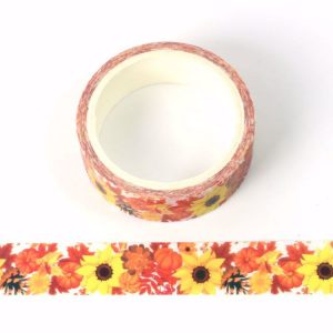 Sunflower and Flowers Print Decorative Washi Tape 15mm x 5m