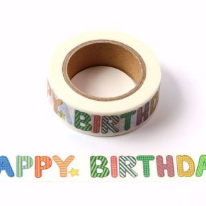 White Happy Birthday Decorative Washi Tape Multi Colour Letters