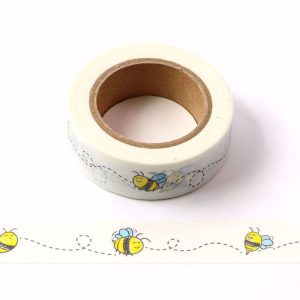Happy Little Honey Bee White Washi Tape 15mm x 10m
