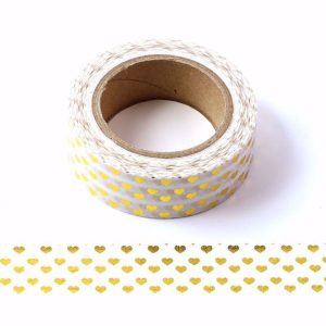 White and Gold Foil Love Hearts Decorative Washi Tape 15mm x 10m