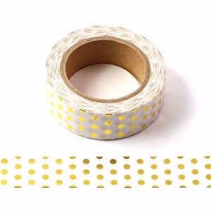 White and Gold Foil Polka Dots Decorative Washi Tape 15mm x 10m