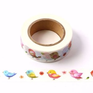 Colourful Summer Birds Decorative Washi Tape 15mm x 10m