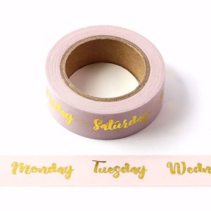 Rose Pink Days of The Week With Gold Foil Embossing Decorative Washi Tape 15mm x 10m