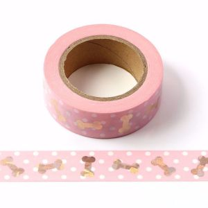 Pink Washi Tape with Silver Foil Cute Dog Bones 15mm x 10m