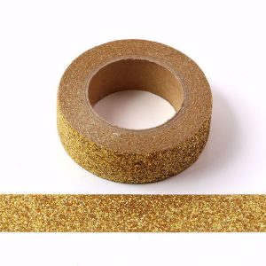 Gold Decorative Glitter Washi Tape Non Shed 15mm x 5m