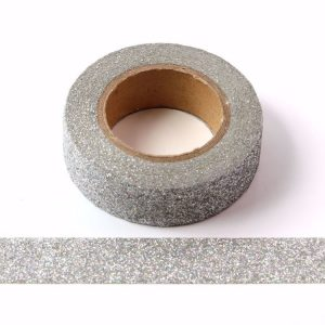 Iridescent Silver Glitter Washi Tape Decorative Tape 15mm x 5m