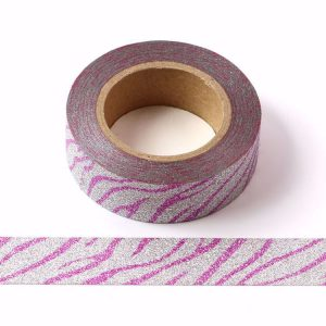 Pink and Silver Glitter Washi Tape Decorative Tape 15mm x 10m