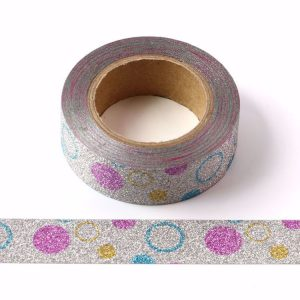 Silver Glitter Bubble Washi Tape Decorative Tape 15mm x 10m