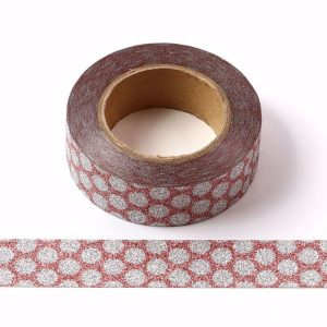 Red and Silver Dots Glitter Washi Tape Decorative Tape 15mm x 10m