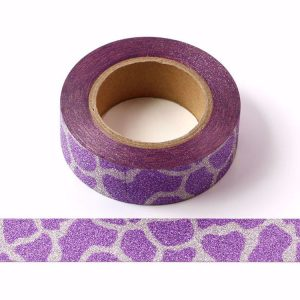 Purple and Silver Pattern Glitter Washi Tape Decorative Tape 15mm x 10m