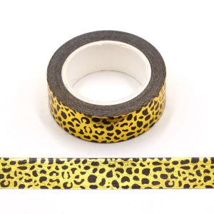 Gold Foil With Black Leopard Print Decorative Washi Tape Self Adhesive 15mm x 10m