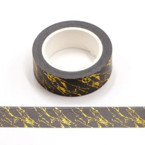 Black and Gold Foil Marble Print Decorative Self Adhesive Tape 15mm x 10m