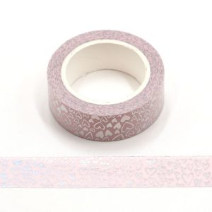 Holographic Colour Changing Silver Love Hearts Washi Tape