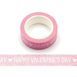 Happy Valentines Day Glitter Sparkle Pink Washi Tape 15mm x 3m