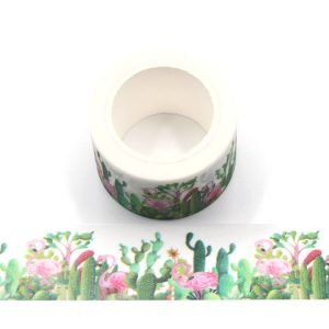 2 Rolls Glitter Cactus and Pink Flamingo Washi Tape 30mm x 5m