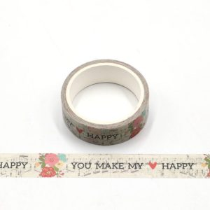 Love, Flowers and Music Print Decorative Washi Tape 15mm x 5m