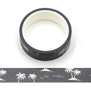 Coconut Trees Black and White Decorative Washi Tape 15mm x 5m