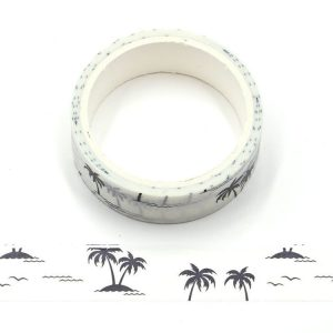 Coconut Trees White and Black Decorative Washi Tape 15mm x 5m