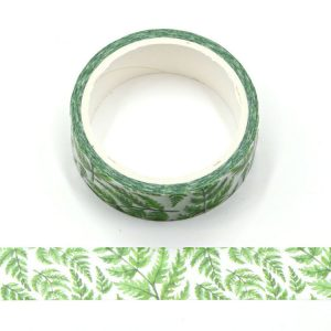 White and Green Tropical Plants Decorative Washi Tape 15mm x 5m