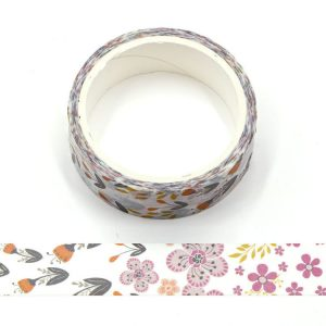 Purple Flowers Decorative Floral Washi Tape 15mm x 5m