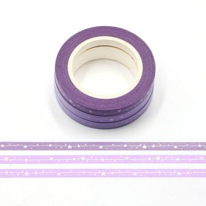 3 Rolls Purple / Lilac Shooting Stars Washi Tape Holographic Silver Foil Embossing 5mm