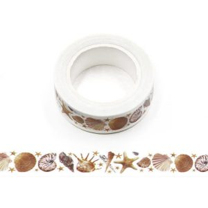 Sea Shells and Starfish Decorative Washi Tape 15mm x 10m