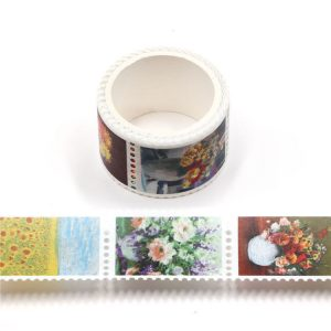 Flower Ink Postage Stamp Washi Tape 25mm x 3m