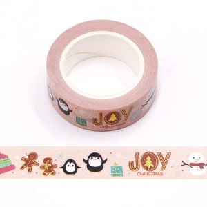 Penguin Joy Pink Christmas Washi Tape 15mm x 10m