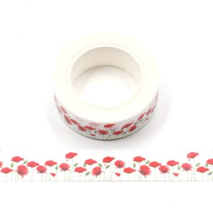 White and Red Poppy Floral Washi Tape Decorative Tape 15mm x 10m
