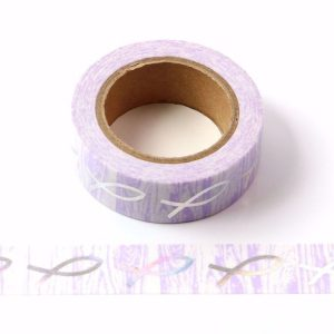 Purple Bow Holographic Foil Washi Tape 15mm