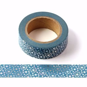 Starburst Blue & Silver Holographic Foil Washi Tape 15mm