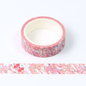 Blue and Silver Foil Bow Washi Tape 15mm x 5m